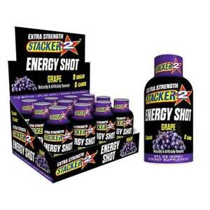 Stacker 2 XTRA Grape - Box 72 Bottles - Energy Shot Drink Extra Strength - 2oz