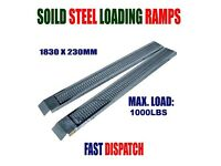 NEW heavy duty solid steel loading ramps for van mini digger trailer quad motor x2 (GREAT TOOLS )