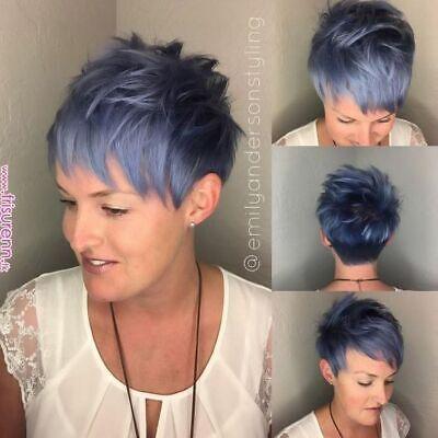Damen Schwarz Blau Schräg Gelockt Haarteile Perücke Lockiges Wig (Kurze Blaue Perücke)