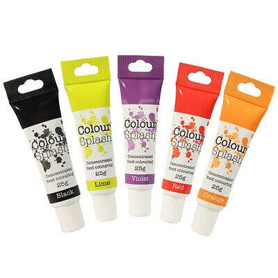 Colour Splash Colorante Alimentario Arcoiris Gel Juego 5 - Negro/Lima /Violeta/