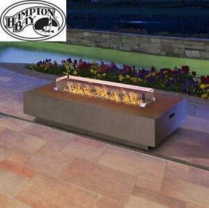 NEW* HAMPTON BAY FIRE TABLE 51008 243425148 FAUX CONCRETE WITH GLASS SHIELDS