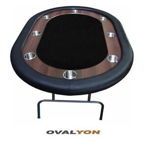 """NEW OVALYON SUPREME POKER TABLE 15124 201615808 UP TO 8 PLAYERS - 62"""" x 42"""" - CARDS GAME TEXAS HOLD'EM"""