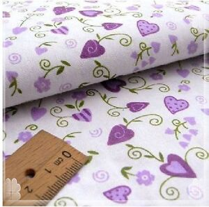 1/2 yard*1.6M purple flower&heart on white Quilt Quilting Fabric 100%cotton