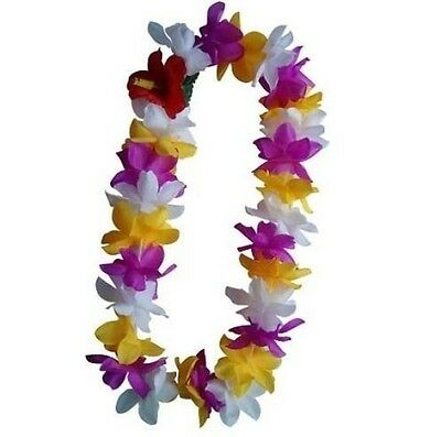 SIX Hawaii Silk Flower Lei Luau Party Hula Wedding PURPLE/YELLOW/WHITE QTY 6 LEI