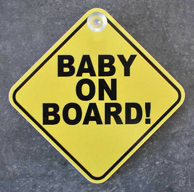 Baby on Board Schild mit Saugknopf NEU 13x13cm Baby an Bord Saugnapf