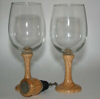 2 wine glasses with wooden stem