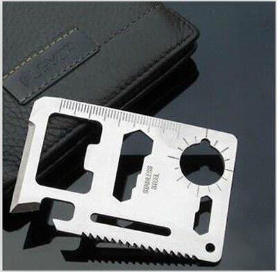 11 in 1 Multi Tool Army Hunting Survival Kit Pocket Credit Card Knife Camping CI ()