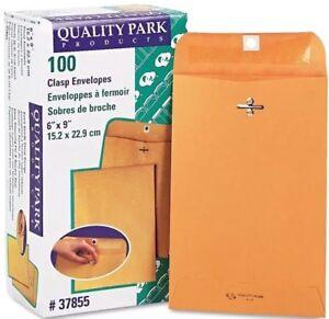 100 Quality Park BUSINESS ENVELOPES 6x9 Kraft Clasp Manila Shipping Yellow Flap