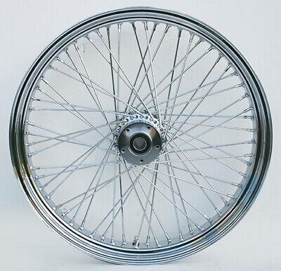 """Chrome Billet 60 Spoke 21"""" x 3.5"""" Front Single Disc Wheel for Harley & Custom"""