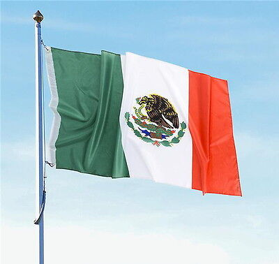 "MEXICO MEXICAN FLAG 3 X 5 FEET WITH BRASS GROMMETS 36"" X 60"" INDOOR OUTDOOR NEW"