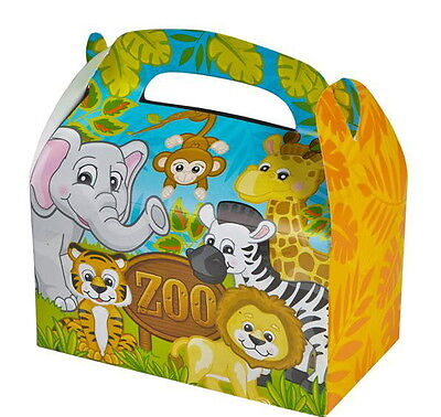12 PARTY TREAT BOXES ZOO ANIMALS FAVOR GOODY BAG BIRTHDAY CARNIVAL SAFARI BOX