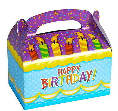 Happy Birthday Treat Bags - 24 HAPPY BIRTHDAY PARTY TREAT BOXES FAVORS GOODY BAGS CARNIVAL PRIZE GIFT BASKET