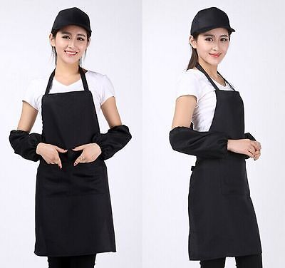 New Women Solid Cooking Kitchens Restaurants Bib Aprons Dress With Pocket Giftfj