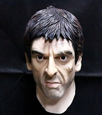 Latex Scarface Al Pacino Mask Tough Guy Movie Mafia Fancy Dress Party - Scarface Halloween Mask