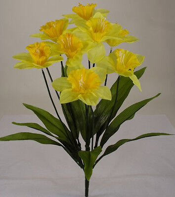 "1 Piece 19"" Daffodil Bush 9 Heads Silk Flower #00249815090  Yellow"