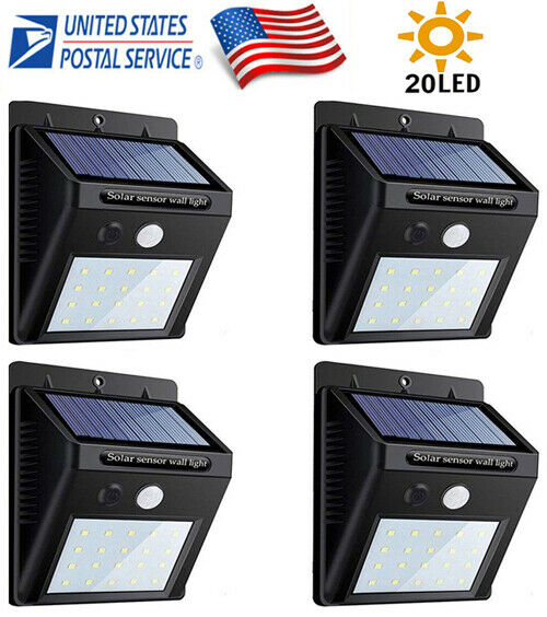 4PK 20LED Solar Power Light PIR Motion Sensor Garden Yard Outdoor Path Wall Lamp