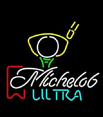 "New Michelob Ultra Red Ribbon Pga Golf  Neon Light Sign 17""x14"""