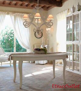 Tavolo provenzale ovale allungabile legno bianco 110x160 for Tavolo allungabile legno bianco