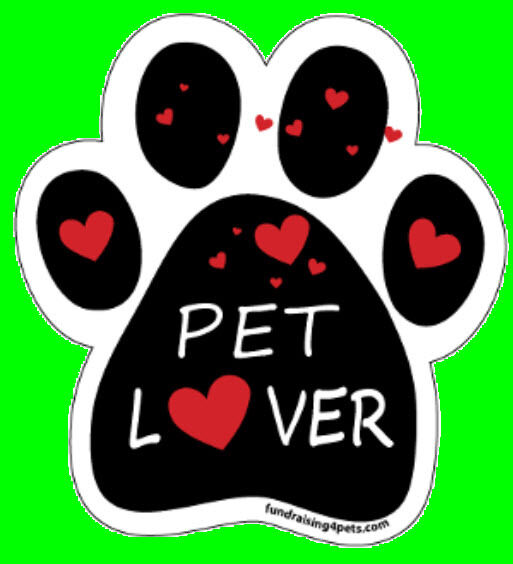 PET LOVER with Hearts - PAW MAGNET,Dogs Dog Cat Cats Pet Pets Rescue Charity