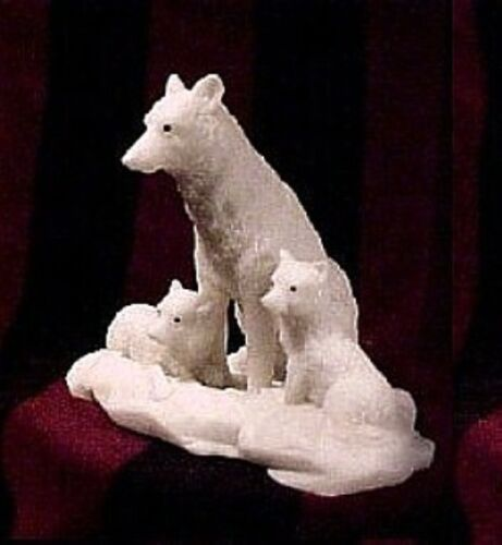 """White REAL Marble  """"  The WOLF FAMILY """" ~ Wildlife ~ FIGURINE ~ STATUE"""