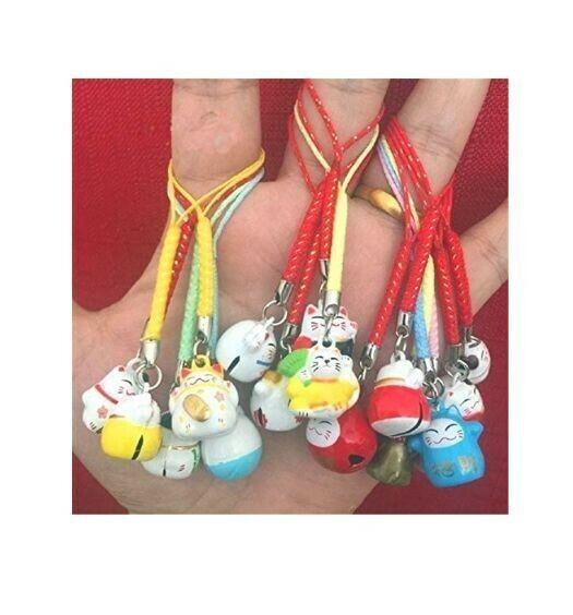 3 Maneki Neko Fortune Lucky Japanese Beckoning Cat Keyring Keychain Key Ring..