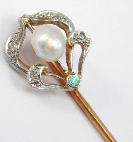 0.25ct ROSE CUT DIAMOND PEARL EMERALD ANTIQUE 925 SILVER VALENTINE STICK PIN