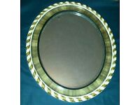 Vintage oval mirror scalloped edges and leaf design brown & cream colour