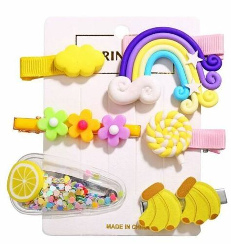 Little girl bang clips, includes rainbow, flower, lemon, banana... Free Shipping