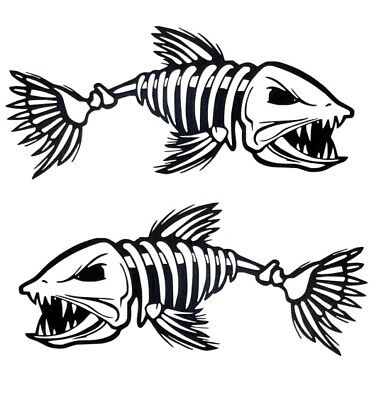 (2) Skeleton Fish Boat Stickers Large Vinyl Decals Graphics Fishing 10