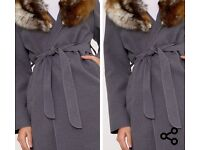 Gorgeous faux fur grey coat never worn new great condition with belt