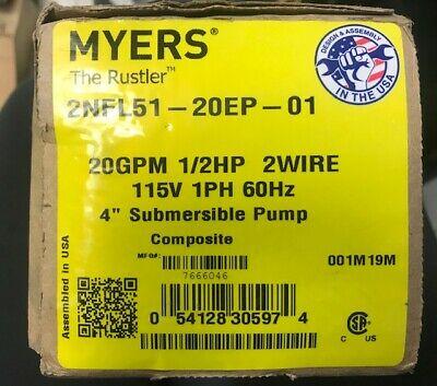 Pentair Myers 2nfl51-20ep-01 4 Submersible Pump New