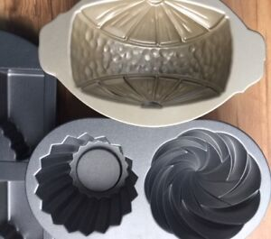 3 specialty Cake pans: 2 Nordic Ware, 1 Wilton