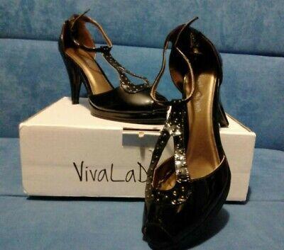 Zapatos Mujer estilo vintage de tacón con detalles dorados y pulsera al...