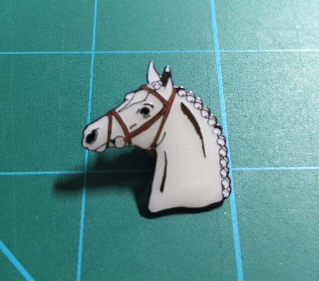 Horse Head Lapel Pin - White