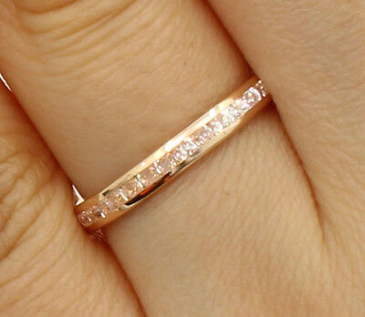 14K Rose Pink Gold Round channel Eternity Endless Anniversary Wedding Ring Band