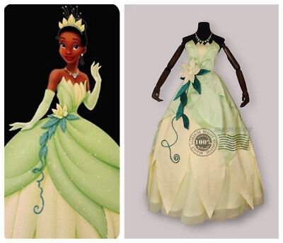 Tiana Adult Costume The Princess and The Frog Cosplay Dress Deluxe Ball Gown Y - Princess And The Frog Costume Adults
