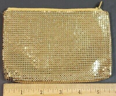 Vintage Gold Mesh Zippered Coin Purse Jewelry Accessory Bag Woven (Coin Purse Woven Bag Zipper)