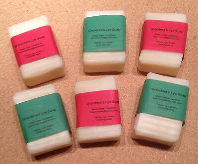 6 Bars Of Homemade Soap  Unscented  Lye Soap