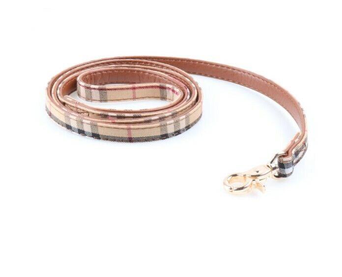 PLAID DOG CAT LEASH ~ Pet Pu Leather Gold Buckle Luxury Collars