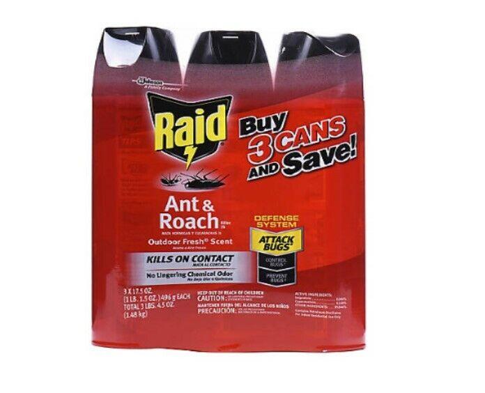 Raid 17.5 Oz. Ant and Roach Killer Spray, 3 pk. Eliminates a