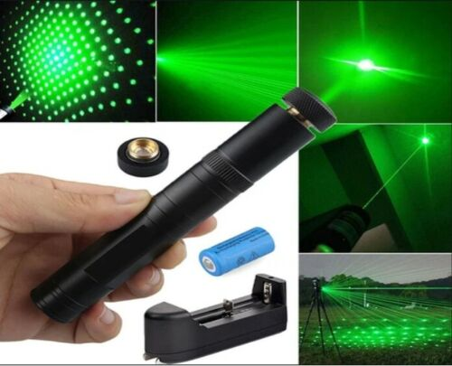 900Miles Laser Pointer Rechargeable Pen Black 532nm Military Battery+Charger+Cap