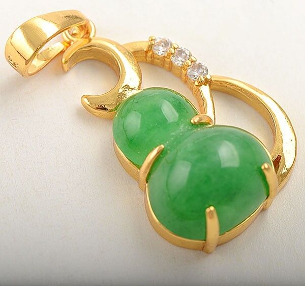 "9kt Yellow Rolled Gold ""Simulated Green Jade"" and CZ Pendant"