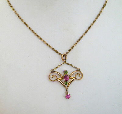 STUNNING VICTORIAN GOLD FILLED PINK & GREEN PASTE LAVALIER NECKLACE PENDANT