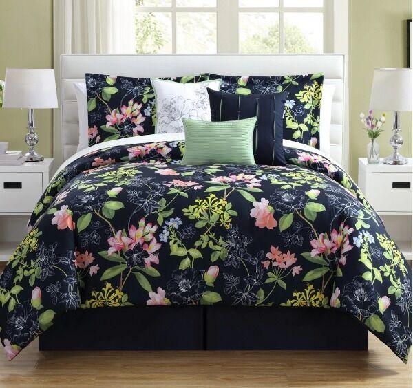Elegant Colorful Floral Comforter Shams Bedskirt Pillow King