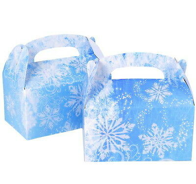 12 PARTY TREAT BOXES FROZEN SNOWFLAKE WINTER FAVORS GOODY BAG BIRTHDAY CARNIVAL