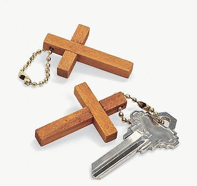 36 Cross Key Chains Wooden Baptism Christian Religious Church Sunday School - Cross Key Chains