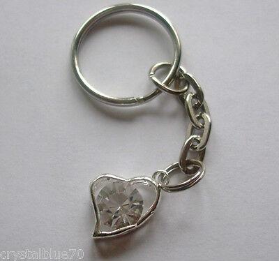 - Rhinestone Heart Charm Keyring Clear - Plated Silver Key Chain 65mm HC - CL
