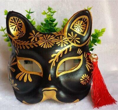 Halloween Kitsune Mask Fashion Japanese Fox Mask Anime Half Face Hand-Paint - Half Face Paint Halloween