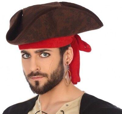 Hut Dreispitz Pirat Braun Zubehörteil Kostüm Herren Neu Billig