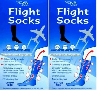 WB Socks Unisex Cotton Anti-Dvt Flight socks 4 pairs per pack